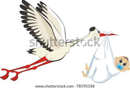 Stork delivering a newborn baby boy - stock vector