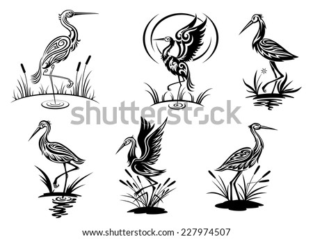 Stork, heron, crane and egret birds vector illustrations in black and white side view showing the birds wading in water - stock vector