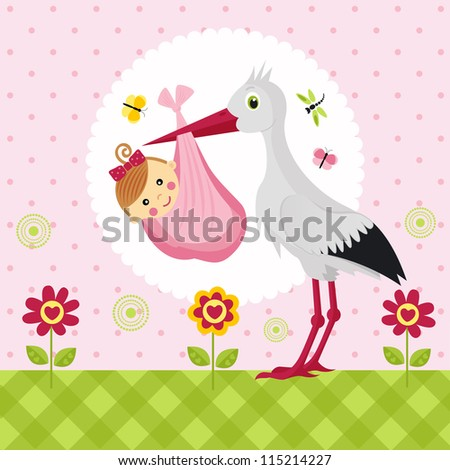 stork with a baby girl in a bag - stock vector