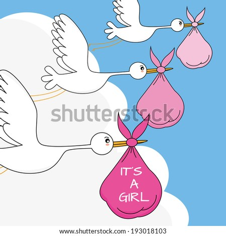 Stork with baby. Baby girl arrival announcement card - stock vector