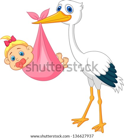 Stork with baby girl - stock vector