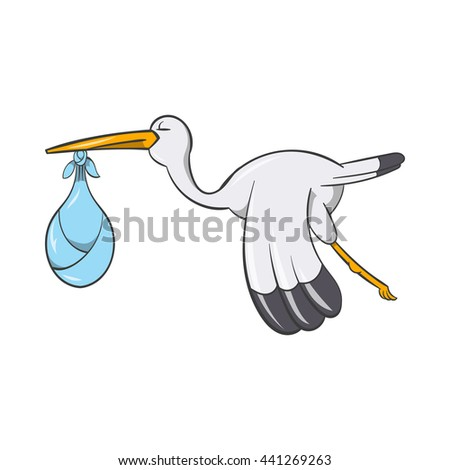 Stork with baby icon in cartoon style isolated on white background. Newborn symbol - stock vector