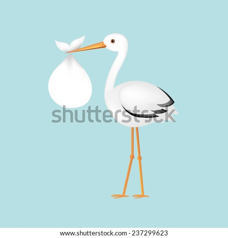 Stork With Baby With Gradient Mesh, Vector Illustration - stock vector