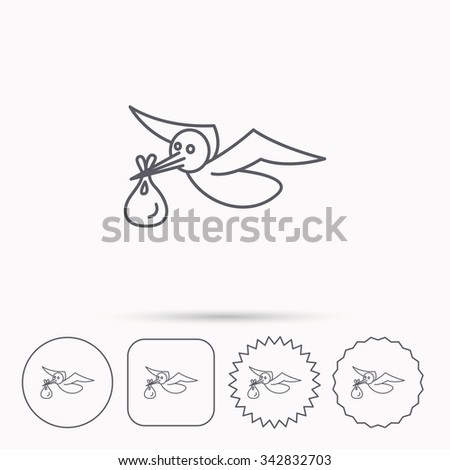Stork with sack icon. Newborn baby symbol. Linear circle, square and star buttons with icons. - stock vector