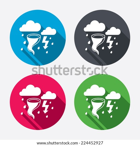 Storm bad weather sign icon. Clouds with thunderstorm. Gale hurricane symbol. Destruction and disaster from wind. Insurance symbol. Circle buttons with long shadow. 4 icons set. Vector - stock vector