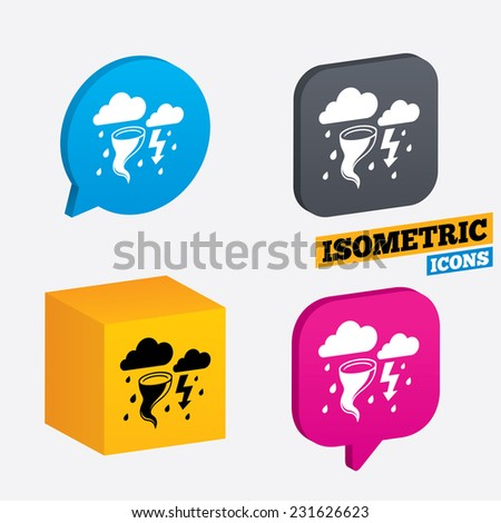 Storm bad weather sign icon. Clouds with thunderstorm. Gale hurricane symbol. Destruction and disaster from wind. Insurance symbol. Isometric speech bubbles and cube. Rotated icons with edges. Vector - stock vector