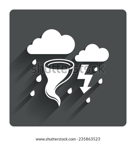 Storm bad weather sign icon. Clouds with thunderstorm. Gale hurricane symbol. Destruction and disaster from wind. Insurance symbol. Gray flat square button with shadow. Vector - stock vector