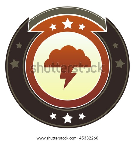 Storm cloud, trouble, or weather icon on round red and brown imperial vector button with star accents - stock vector