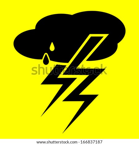 storm symbol on a yellow background - stock vector