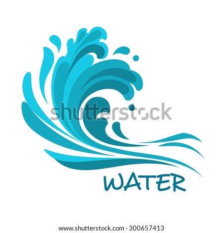 Stormy sea wave crashing over beach abstract symbol, for nature or ecology design - stock vector