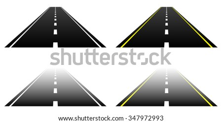 Straight road parts on white. Vanishing, fading asphalt roads with two lanes. - stock vector