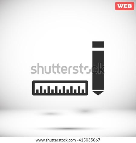 Straightedge pen Icon, Straightedge pen icon flat, Straightedge pen icon picture, Straightedge pen icon vector, Straightedge pen icon EPS10, Straightedge pen icon graphic, Straightedge pen icon object - stock vector