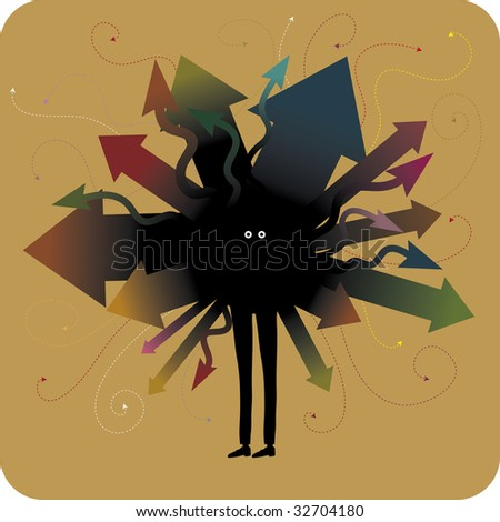 strange character with a lot of arrows coming from his body. Indecision concept - stock vector