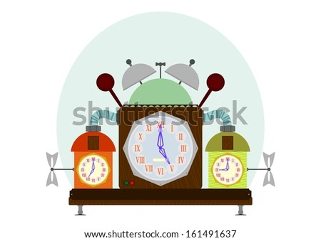 Strange old clock on a white background. - stock vector