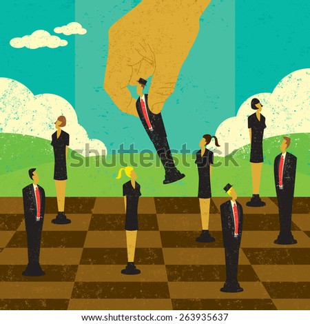 Strategic Management Decisions A large hand moving business people to strategic locations on a chess board. The hand & people and background are on separate labeled layers.   - stock vector