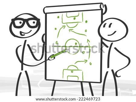 strategy and planning - tactics on the flip chart - stock vector