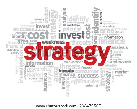 Strategy business concept in word tag cloud, vector background - stock vector
