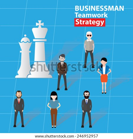 Strategy, Businessman, business concept on blue background, clean vector - stock vector