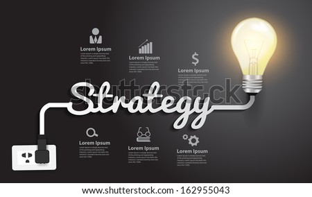 Strategy concept modern design template, Creative light bulb idea abstract infographic workflow layout, diagram, step up options, Vector illustration - stock vector
