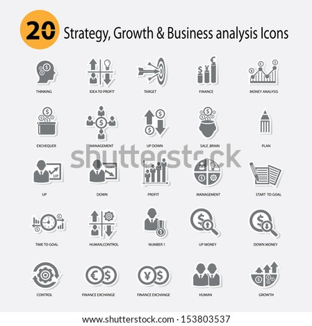 Strategy,Growth & Business analysis Icons,Gray version,vector - stock vector