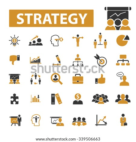 strategy  icons, signs vector concept set for infographics, mobile, website, application  - stock vector