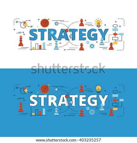 Strategy lettering flat line design with icons and elements for book cover, report header, presentation,illustration, infographics, printing, website banner and landing page. - stock vector