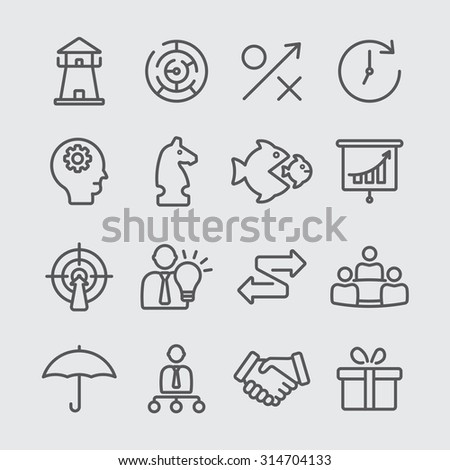 Strategy line icons - stock vector