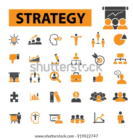 strategy, management, business presentation icons - stock vector