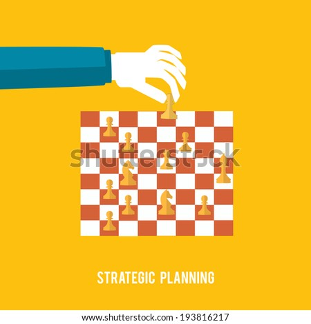Strategy planning concept. Man playing chess and try to find strategic position. Flat design. - stock vector