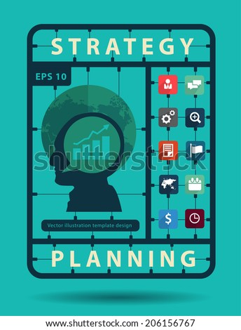 Strategy planning idea concept with business flat icons, Creative plastic model kits set, info graphic layout banner, diagram, step up options, Vector illustration modern template design - stock vector