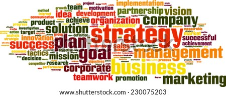 Strategy word cloud concept. Vector illustration - stock vector