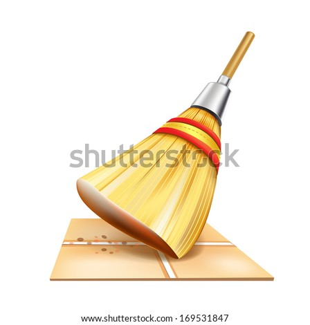 straw broom on floor isolated on white background - stock vector