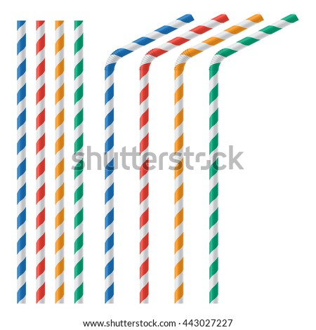 Straw for beverage colorful vector illustration isolated on a white background - stock vector