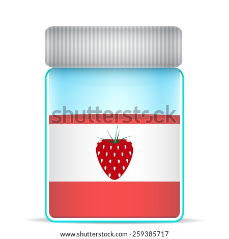 strawberries in a glass jar - stock vector