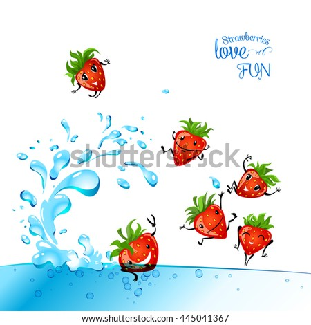 Strawberries love fun. Strawberry character having fun in a water. Food illustration.  - stock vector