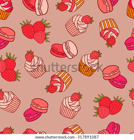 Strawberries, macaroons and cupcakes seamless pattern vector. Doodle collection fresh fruits and confection - stock vector