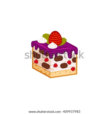 Strawberry and chocolate cake piece isolated on white background. Vector illustration for tasty slices bakery shop. Healthy Diet mousse, yogurt pastry. - stock vector