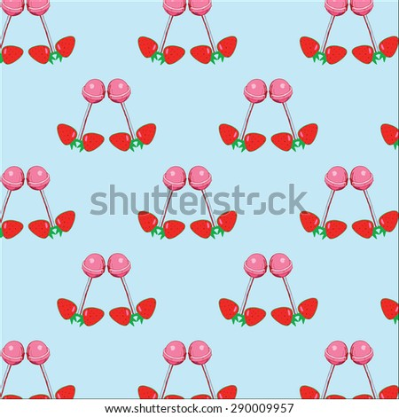 Strawberry and Suckers Summer Pattern - stock vector