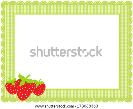 Strawberry Gingham Frame-Gingham patterned frame with scalloped border and a set of strawberries - stock vector