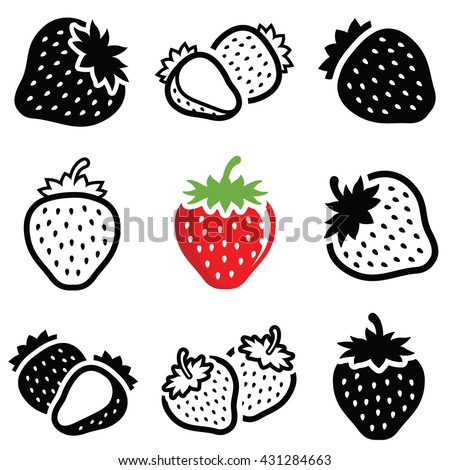 Strawberry icon collection - vector outline and silhouette - stock vector
