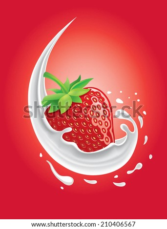 strawberry in milk splash - stock vector