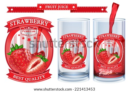 Strawberry juice Label vector visual, ideal for fruit juice. Can drawn with mesh tool. Fully adjustable & scalable. Vector illustration  - stock vector