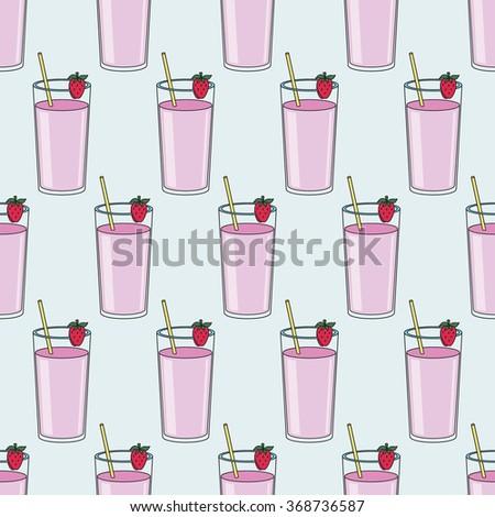 strawberry milk shake - stock vector