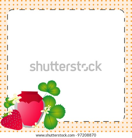 Strawberry text card white dots - stock vector