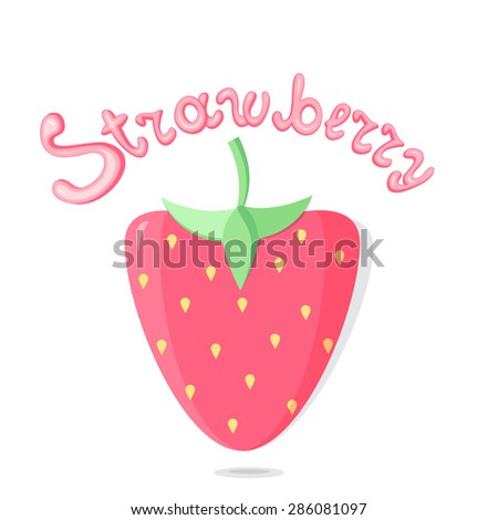 strawberry vector cartoon on white background - stock vector