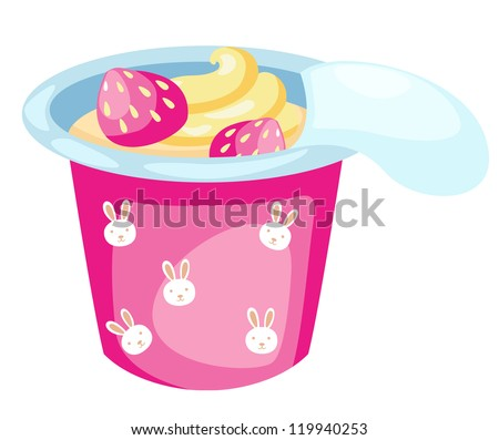 strawberry yogurt isolated on white background vector - stock vector