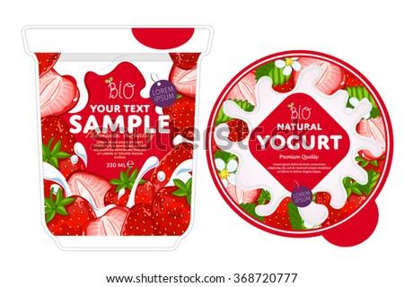 Strawberry Yogurt, Yogurt Splash on Strawberry. Milk Splash. Milk, yogurt or cream blot, drop. Strawberry Yogurt Packaging Design Template. Fruit Yogurt. Yogurt pot design template. Yogurt design pack - stock vector