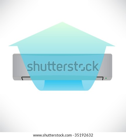 Stream of air from the conditioner. Vector illustration. - stock vector