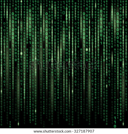 Stream of binary code on screen. Abstract vector background. Data and technology, decryption and encryption, computer matrix illustration - stock vector