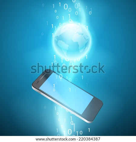 Stream of binary code with mobile phone. EPS10 vector background. - stock vector